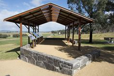 Shelter Design by Steve Gorrell for Cowra Council. Part of a collaborative project with the Interpretive Design Company for interpretive signage at Cowra POW Camp. Gazebo, Pergola, Shelter Design, Signage Design, Trees, Camping, Outdoor Structures, Australia, Explore