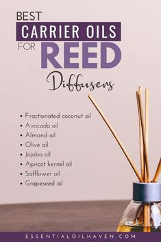 Learn how to make a DIY reed diffuser! I'll show you the best carrier oil for reed diffusers, plus reed diffuser oil recipes using essential oils. Homemade Reed Diffuser, Diy Essential Oil Diffuser, Diffuser Diy, Reed Diffuser Oil, Diffuser Recipes, Essential Oil Blends, Mist Diffuser, Homemade Essential Oils, Making Essential Oils