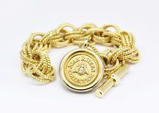 JOAN RIVERS GOLD-TONE BUMBLE BEE CHARM CHAIN TOGGLE BRACELET