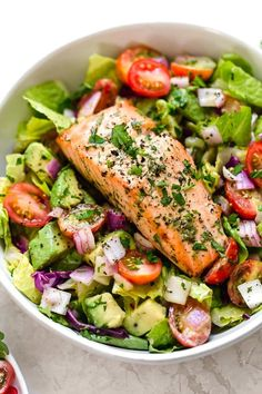 This Salmon Avocado Salad is made with my two favorite super foods – avocado and wild salmon. I could eat this every day! This Salmon Avocado Salad is made with my two favorite super foods – avocado and wild salmon. I could eat this every day! Salmon Recipes, Seafood Recipes, New Recipes, Cooking Recipes, Healthy Recipes, Super Food Recipes, Detox Recipes, Salmon Avocado, Avocado Salat