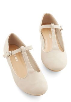 Around-the-Clock Cute Flat in Beige. From your early morning commute to your day-closing libations with friends, these sleek beige faux-leather flats stick with you, keeping your look fresh throughout the day. #cream #wedding #modcloth
