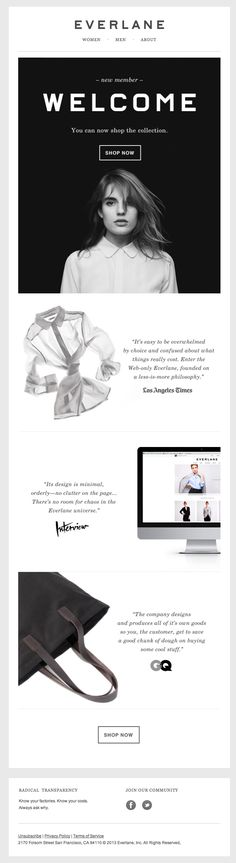 Welcome to Everlane #newsletter #enewsletter #emaildesign #emailmarketing