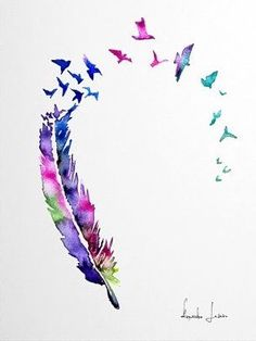Instead of birds, put butterflies Feather Drawing, Watercolor Feather, Feather Painting, Feather Art, Feather Tattoos, Watercolor Paintings, Badass Tattoos, Body Art Tattoos, Art Sketches