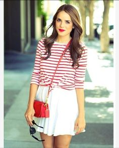 Stripes and a cute purse are the way to go!