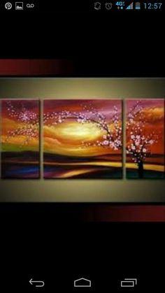3 canvas mural cherry blossum