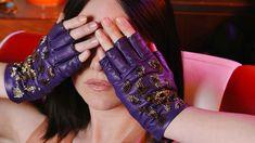 Handcrafted embroidered Gloves. Purple leather with glass beads Purple Leather, Glass Beads, Gloves, Couture, Collection, Fashion, Moda, La Mode, Fasion