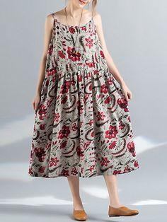 Abiti vintage da donna con stampa floreale a spaghetti Abiti In Stile  Vintage 356e7e9c414