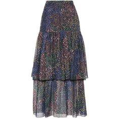 Chloé Ruffled Cotton and Silk Skirt (37.413.885 IDR) ❤ liked on Polyvore featuring skirts, multicoloured, multi color skirt, flounce skirt, ruffle skirt, frilly skirt and flouncy skirt