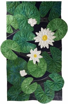 "Waterlilies  (25"" x  39"") by Pat Hilderbrand.  SAQA."