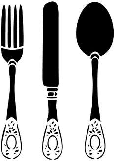 Cutlery Stencil - Granny B's Old Fashioned Paint Stencil Art, Stencils, Kitchen Clipart, Designer Image, Kitchen Logo, Christmas Napkins, Art Template, Templates, Fashion Painting