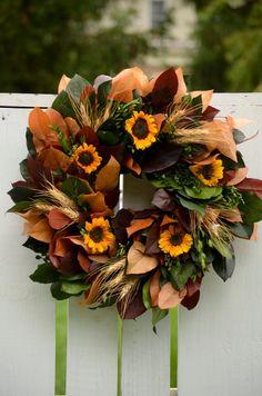 Sunflower Wreath, preserved wreath, fall wreath, golden, autumn