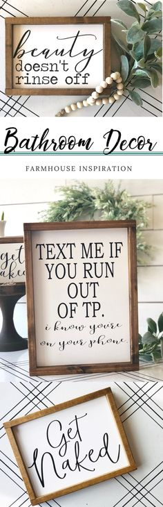 Funny Farmhouse Bathroom Decor! {{Trisha Ann's Creations}} I love each of these signs, cute and sooooo true! :) Perfect for any style #bathroom #bathroomideas #bathroomdecor #farmhousebathroom #fixerupperbathroom #farmhousedecor #ad