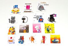 Diary stickers - Computer stickers set of 4 sheets - Cat laptop stickers - Cute Stickers mignons - Stocking stuffer - Sticker kaffee - Planner stickers