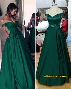 Dark green prom dresses ball gown off shoulder green gowns в Dresses For Teens Wedding, Best Prom Dresses, Ball Dresses, Bridesmaid Dresses, Long Dresses, Dress Long, Formal Dress, Dark Green Prom Dresses, Green Gown