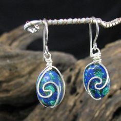Tailored Earrings Blue Green Azurite Malachite And Sterling Silver | bohowirewrapped - Jewelry on ArtFire