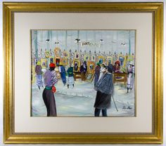 """Lot 347: Shlomo Alter (Israeli, b. 1936) """"Art Expo"""" Oil on Board; Undated, signed lower right, depicting an art exposition; Nelson Rockefeller Collection decal en verso of the framing"""