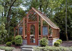 Custom 12 x 12 Tudor Greenhouse on Brick Base #conservatorygreenhouse #greenhouseeffect
