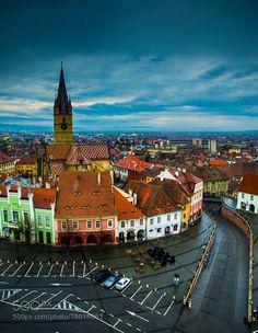 Sibiu, small square view by Radu To / Sibiu Romania, Bucharest Romania, European Destination, European Travel, The Beautiful Country, Beautiful Places, Amazing Places, Places Around The World, Around The Worlds