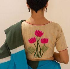 Pink lotus on Tussar silk - Blouses - Sarees Blouse Back Neck Designs, Modern Blouse Designs, Traditional Blouse Designs, New Saree Blouse Designs, Patch Work Blouse Designs, Stylish Blouse Design, Bridal Blouse Designs, Kurta Designs, Sari Blouse
