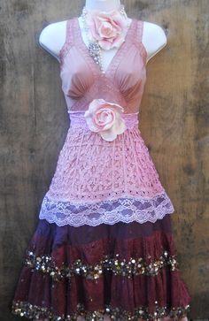 Sequin gypsy dress crochet cotton  lace fairytale rose boho  vintage  romantic medium by vintage opulence on Etsy