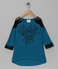Take a look at this Blue Floral Lace Tunic - Girls by Me & Ko on #zulily today!