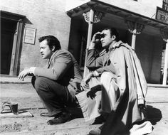 Cinematographer Stanley Cortez lines up a shot with director Orson Welles for The Magnificent Ambersons at the RKO ranch in 1942