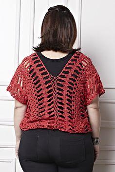 Receitas Círculo - Plus Size - Blusa Crochê de Grampo Vermelha
