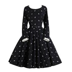 Vintage Black Wool Skater Dress | From a collection of rare vintage evening dresses and gowns at https://www.1stdibs.com/fashion/clothing/evening-dresses/