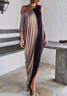 Black-Khaki Patchwork Irregular Draped Long Sleeve Fashion Maxi Dress