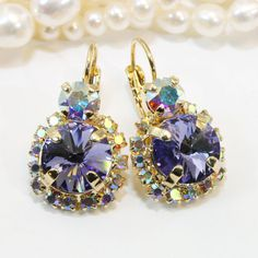 Purple Crystal Earrings Gold AB Violet Crystal Tanzanite Lavender Drop Halo Earrings Purple wedding ,Swarovski Gold Finish,Tanzanite,GE102
