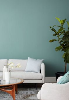 Make Waves is a versatile greenish-blue paint color that's serene, sophisticated and nuanced, like ocean waves rippling under the sun. Shop now. Blue Green Paints, Green Paint Colors, Bedroom Paint Colors, Paint Colors For Living Room, My Living Room, Blue Living Room Walls, Blue Bedroom Walls, Ocean Blue Paint Colors, Bedroom Color Palettes