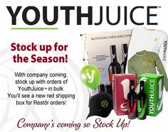 Stock up on Youth Juice by ordering bulk! Shipping Boxes, Juice, Youth, Nutrition, Science, Seasons, Shipping Crates, Seasons Of The Year, Juices