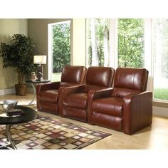 Row One Manhattan Home Theater Recliner (Row of 3) Upholstery - Color: Bonded Leather - Cantina Peanut