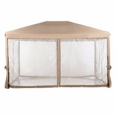 Abba Patio 10x12 Feet Fully Enclosed Garden Gazebo Patio Canopy with Mosquito Netting Brown