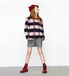 FURRY CHECKED SWEATER
