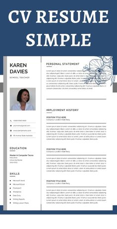 Teacher Resume template instant download Word with Teacher Resume and Cover Letter Template Modern Resume Template Word Resume Design 2 Page Executive Resume with photo.  #TeachResume #TeachResume #TeacherResumeTemplate #TeacherResumeTemplateInstantDownload #ArtTeacherResume #TeachingResume #EducationResumeTemplate Teaching Resume Examples, Sales Resume Examples, Resume Objective Examples, Hr Resume, Nursing Resume, Resume Help, Resume Action Words, Resume Words, Resume Skills List