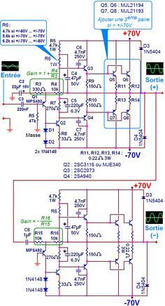 schema ampli 500w 1000w simple 0 | power amp in 2019 | audio amplifier, circuit  diagram, diy electronics