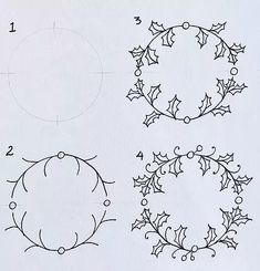 How to draw an easy Holly Wreath Doodle | Craft Designer | Marie Browning | Blog #drawingdoodleseasy