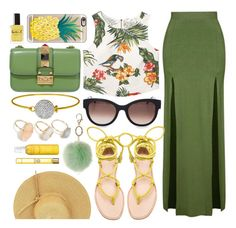 Tropical by monmondefou on Polyvore featuring MANGO, Topshop, Joie, Valentino, Thierry Lasry, Casetify, Dorothy Perkins, Versace, Avène and Lauren B. Beauty