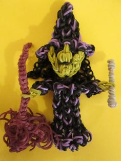 Rainbow Loom Witch's Broom and Wand Charms.