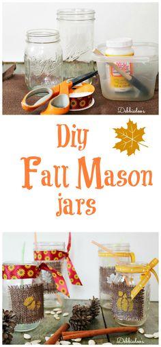 Diy craft: Fall mason jars would be cute done Christmasy!