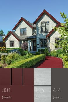 Exterior Color Schemes, Siding Colors, Exterior Paint Colors For House, Paint Colors For Home, Red Roof House, Farm House Colors, European House, Exterior Remodel, Country Estate
