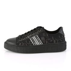 "Demonia 1.5/"" Black Canvas Hi Top Stud Fold Down Zip Creeper Sneaker Boots 4-13"