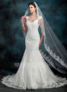 Wedding Veils - $48.99 - One-tier Cathedral Bridal Veils With Lace Applique Edge (006022608) http://jjshouse.com/One-Tier-Cathedral-Bridal-Veils-With-Lace-Applique-Edge-006022608-g22608