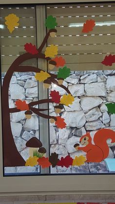 Dekoracje jesienne Fall Arts And Crafts, Easy Fall Crafts, Diy Crafts For Kids, Fall Window Decorations, Tree Crafts, Paper Crafts, Nursery Banner, Hedgehog Craft, Fall Garland