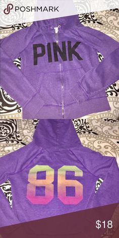 VS Pink hoodie Worn 3 times in great condition. Graphic hoodie designs. Silver zipper PINK Victoria's Secret Tops Sweatshirts & Hoodies