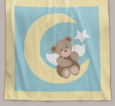 Crochet Pattern | Baby Blanket / Afghan - Angel Bear - Full Row-by-Row Written Instructions + Chart