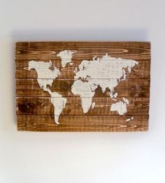 World Map Wood Art | Express a rustic sort of global pride with this hand-distresse... | Artwork
