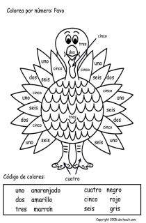Spanish for kids: Color by Number in Spanish (Thanksgiving worksheet). Fun Spanish activity for kids to practice numbers in Spanish and colors in Spanish! http://www.enotes.com/documents/color-by-numbers-spanish-thanksgiving-worksheet-19421