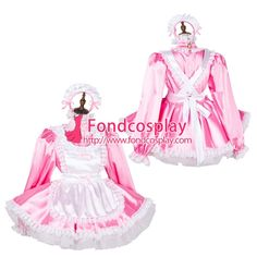Free Shipping Lockable Sissy Maid Satin Dress Uniform Cosplay Costume Tailor-made